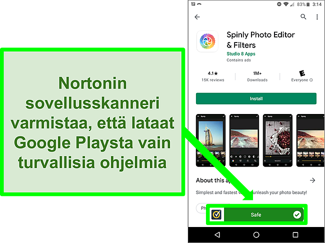 Kuvakaappaus sovelluksesta Google Play Kaupassa, joka on merkitty turvalliseksi Norton -skannauksen avulla.