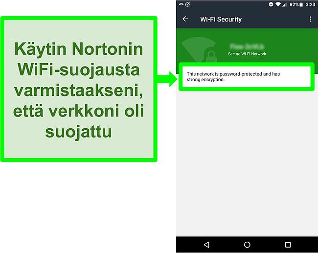 Kuvakaappaus Norton Mobile Securityn WiFi -tarkistuksesta, joka näyttää suojatun WiFi -verkon.