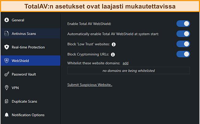 Kuvakaappaus TotalAvs -asetukset -valikosta.