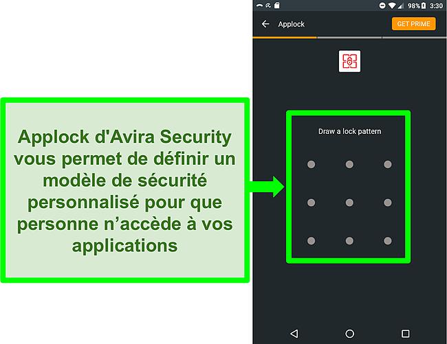 Capture d'écran de la fonction Applock d'Avira sur Android.