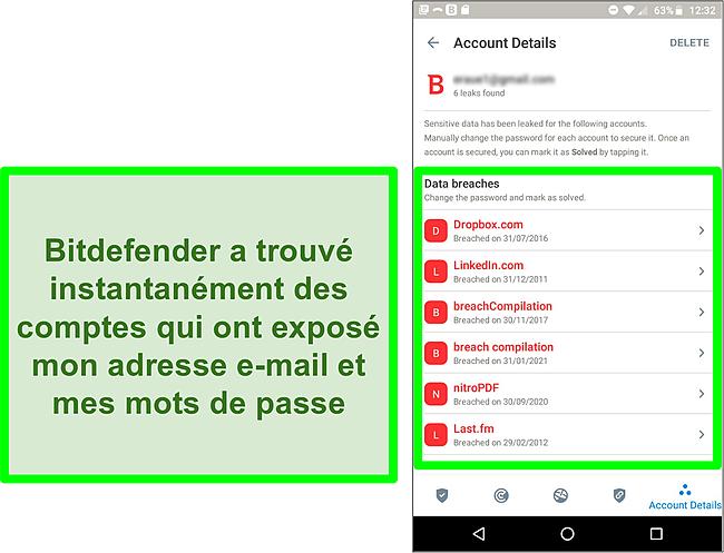 Capture d'écran du scanner de violation de données de Bitdefender trouvant plusieurs comptes exposés.