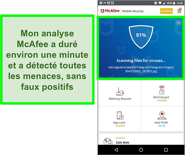 Capture d'écran d'une analyse antivirus en cours à l'aide de McAfee Mobile Security.