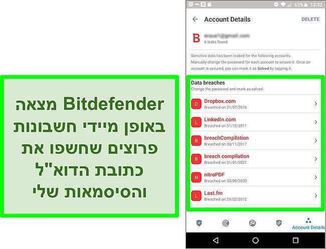 צילום מסך של סורק הפרת הנתונים של Bitdefender הממצא חשבונות חשופים מרובים.