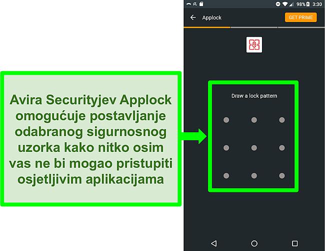 Snimka zaslona Avirine značajke zaključavanja aplikacija na Androidu.