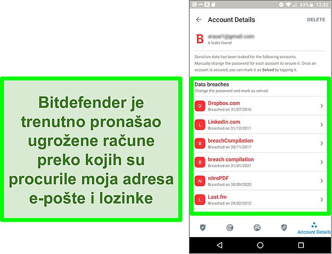 Snimka zaslona Bitdefenderova skenera za otkrivanje kršenja podataka koji pronalazi više izloženih računa.