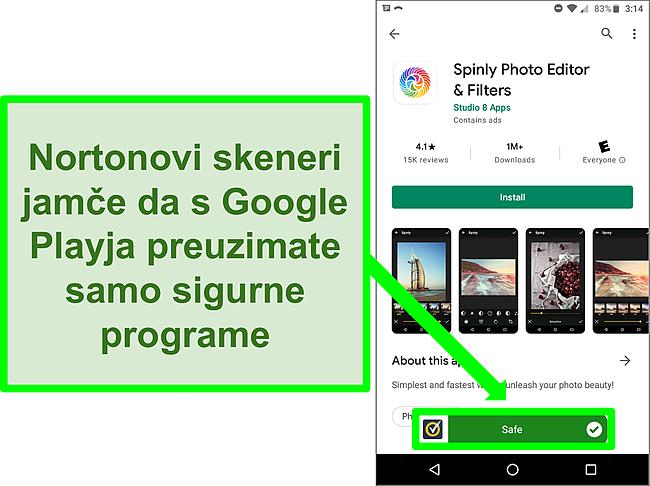 Snimka zaslona aplikacije u trgovini Google Play koja je Nortonovim skeniranjem označila