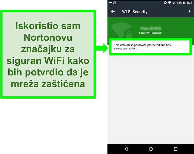 Snimka zaslona WiFi skeniranja u Norton Mobile Security -u koja prikazuje sigurnu WiFi mrežu.