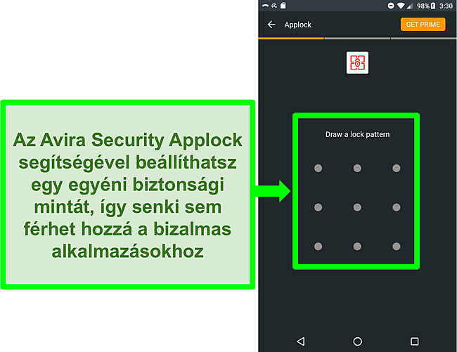 Képernyőkép az Avira applock funkciójáról Androidon.