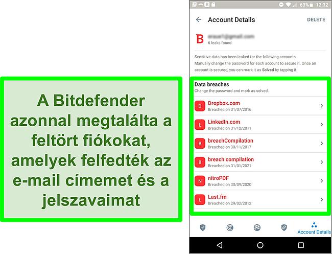Pillanatkép a Bitdefender adatvédelmi incidens -szkenneréről, amely több kitett fiókot talált.