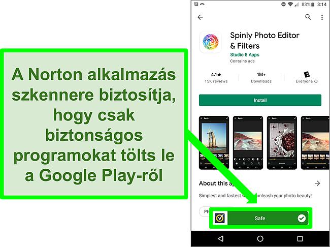 Képernyőkép egy olyan alkalmazásról a Google Play Áruházban, amelyet egy Norton -vizsgálat