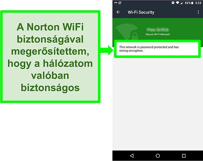 Képernyőkép a Norton Mobile Security WiFi -vizsgálatáról, amely biztonságos WiFi -hálózatot mutat.