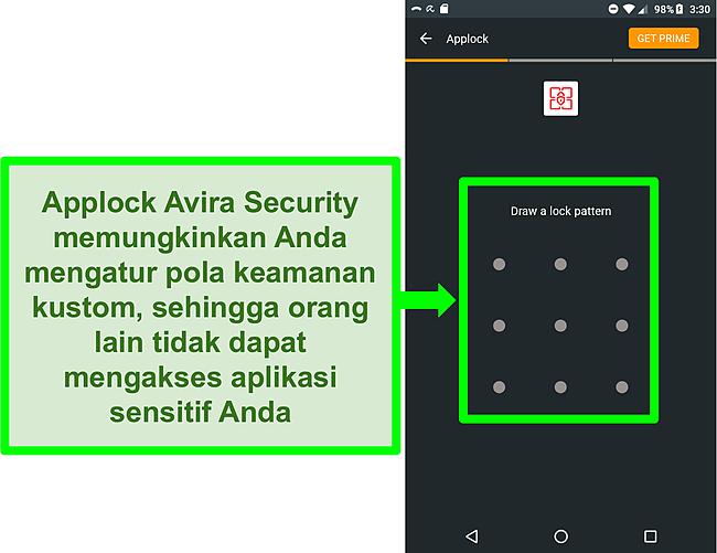 Cuplikan layar fitur AppLock Avira di Android.