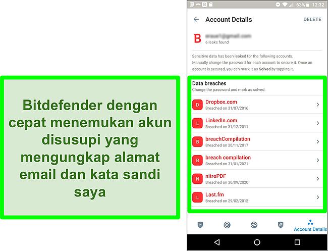 Tangkapan layar pemindai pelanggaran data Bitdefender menemukan beberapa akun yang terbuka.