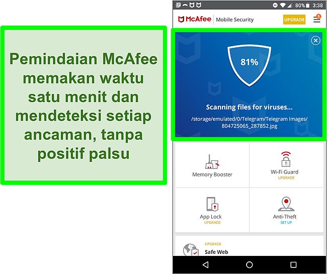 Cuplikan layar pemindaian virus yang sedang berlangsung menggunakan McAfee Mobile Security.