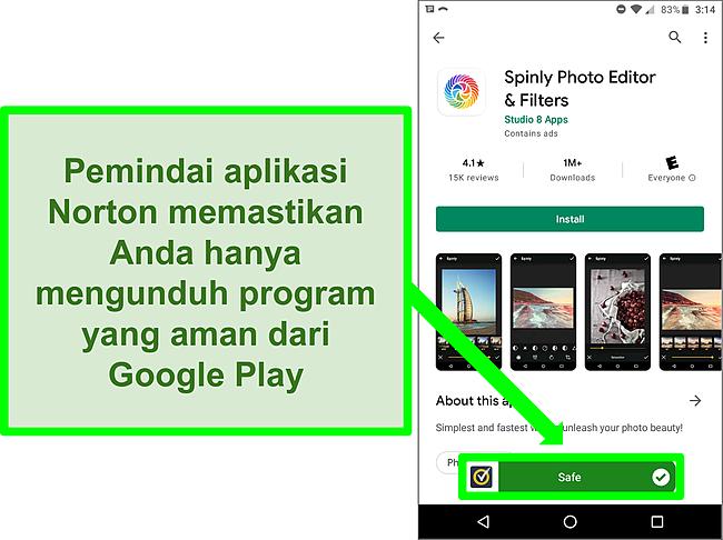Cuplikan layar aplikasi di Google Play Store yang ditandai sebagai