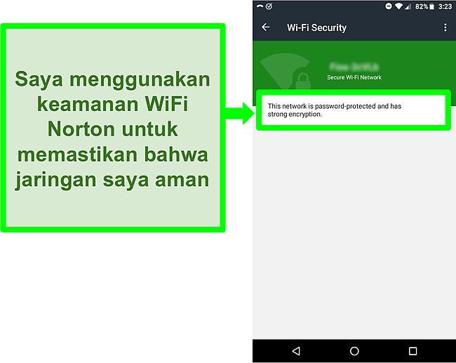 Cuplikan layar pemindaian WiFi di Norton Mobile Security menunjukkan jaringan WiFi yang aman.