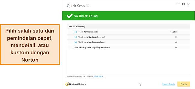 Cuplikan layar opsi pemindaian anti-malware Norton.