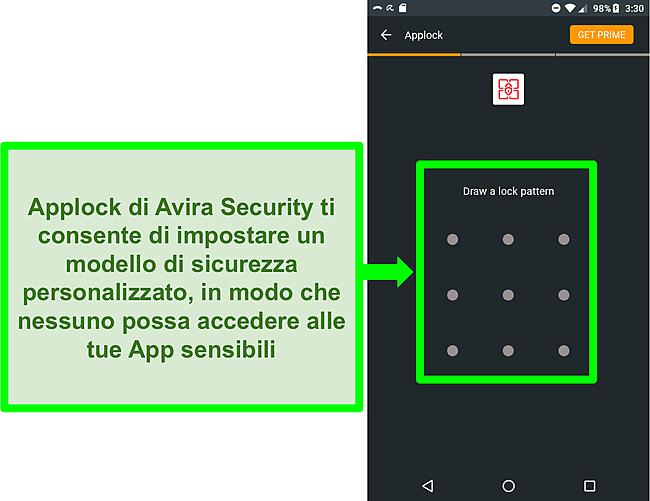 Screenshot della funzione Applock di Avira su Android.
