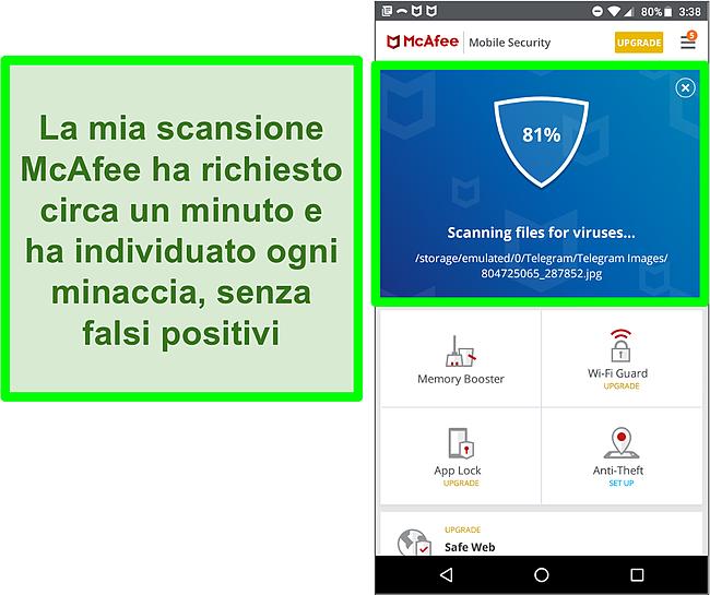 Screenshot di una scansione antivirus in corso utilizzando McAfee Mobile Security.