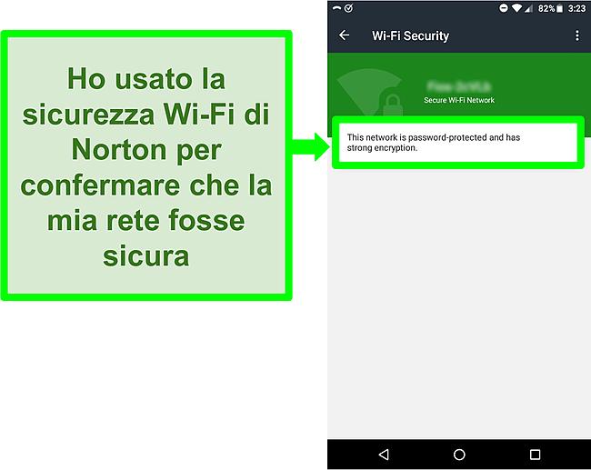 Screenshot di una scansione WiFi in Norton Mobile Security che mostra una rete WiFi sicura.