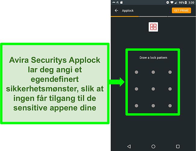 Skjermbilde av Aviras applock -funksjon på Android.