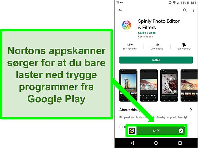 Skjermbilde av en app i Google Play -butikken som er merket som