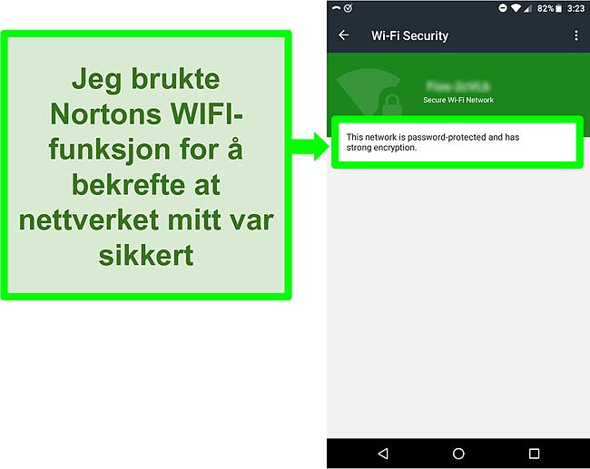 Skjermbilde av en WiFi -skanning i Norton Mobile Security som viser et sikkert WiFi -nettverk.