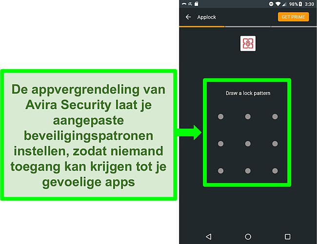 Screenshot van Avira's applock-functie op Android.