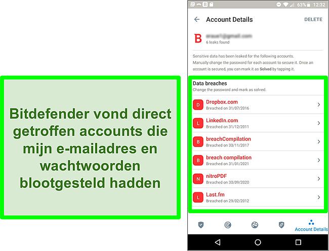 Screenshot van Bitdefender's datalekscanner die meerdere blootgestelde accounts vindt.