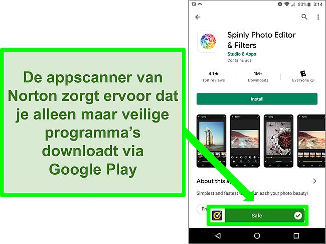 Screenshot van een app in de Google Play Store die door een Norton-scan als 'veilig' wordt gemarkeerd.