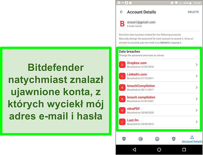Zrzut ekranu skanera naruszenia danych Bitdefender, który znajduje wiele narażonych kont.