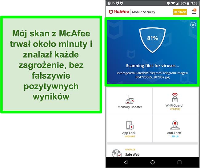 Zrzut ekranu trwającego skanowania antywirusowego przy użyciu programu McAfee Mobile Security.