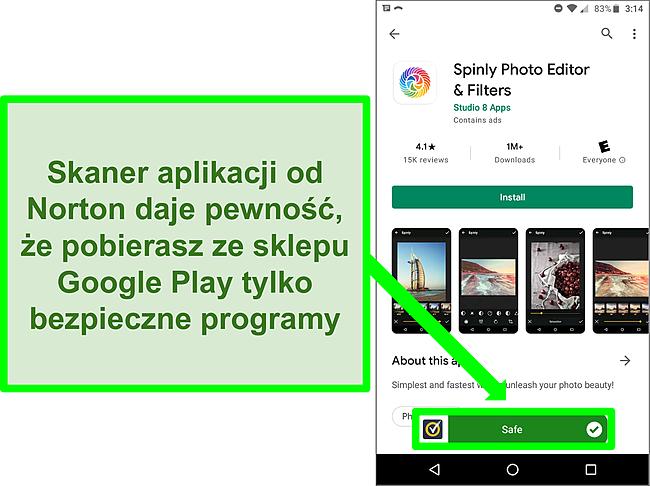 """Zrzut ekranu aplikacji w sklepie Google Play oznaczonej jako """"bezpieczna"""" przez skanowanie Norton."""