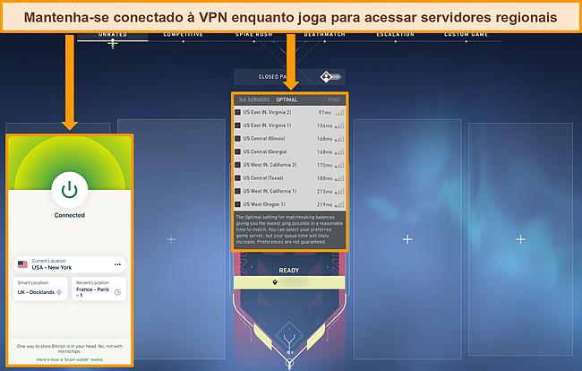 Captura de tela do app Valorant com servidores norte-americanos destacados e ExpressVPN conectado a um servidor norte-americano.