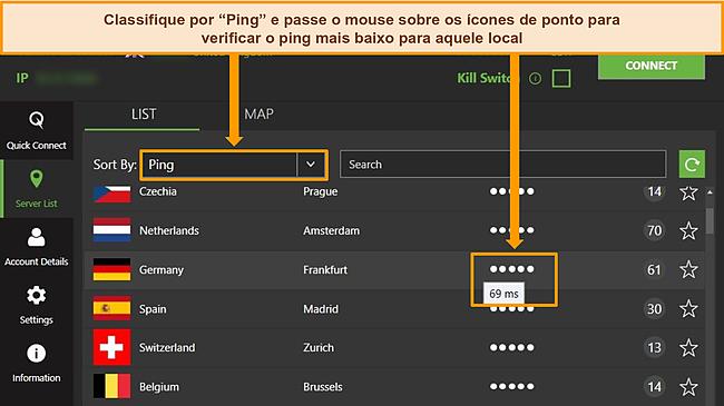 Captura de tela da lista de servidores IPVanish no aplicativo do Windows, destacando os servidores classificados por ping e a menor latência disponível na região.