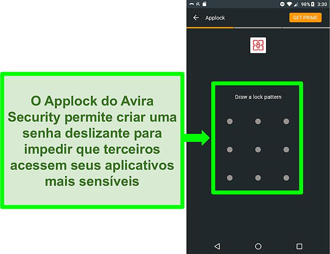 Captura de tela do recurso AppLock da Avira no Android.