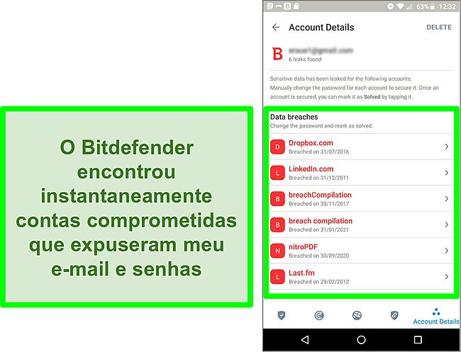 Captura de tela do verificador de violação de dados do Bitdefender encontrando várias contas expostas.