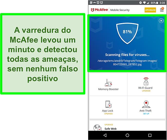 Captura de tela de uma verificação de vírus em andamento usando o McAfee Mobile Security.