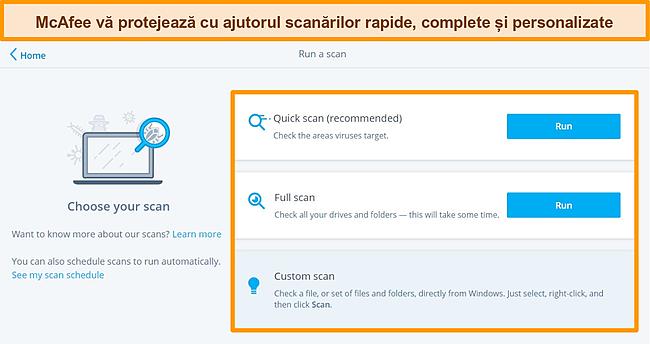 Captură de ecran a aplicației antivirus McAfee cu opțiuni de scanare rapide, complete și personalizate.