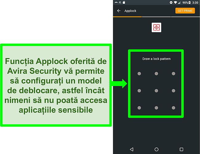 Captură de ecran a funcției applock Avira pe Android.