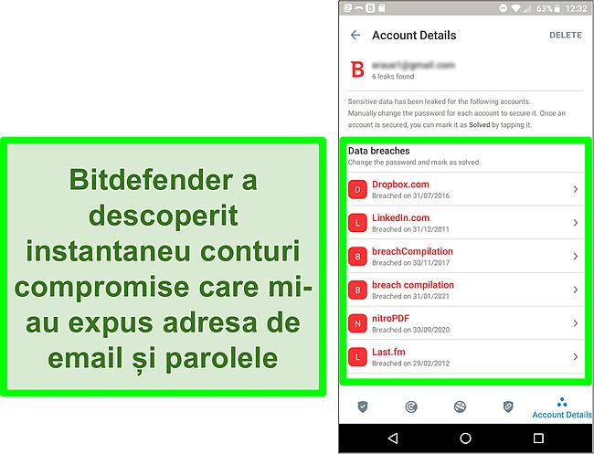 Captură de ecran a scanerului Bitdefender privind încălcarea datelor care găsește mai multe conturi expuse.