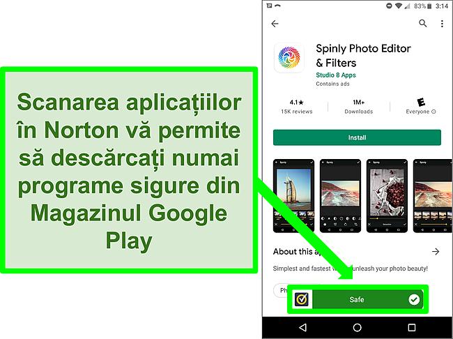 """Captură de ecran a unei aplicații din magazinul Google Play care este marcată ca """"sigură"""" de o scanare Norton."""