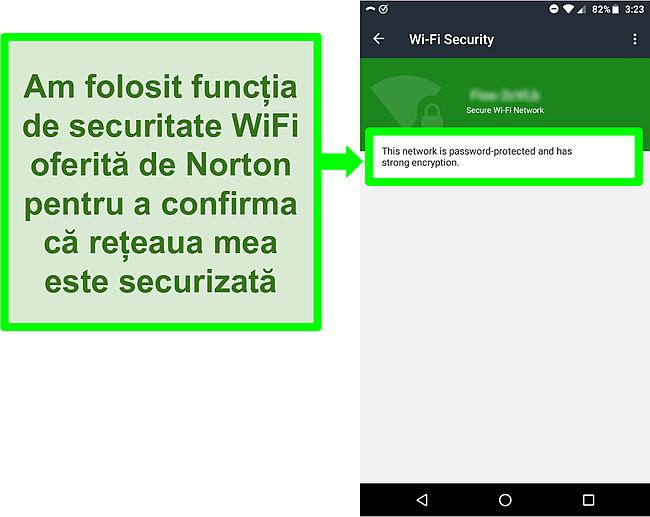 Captură de ecran a scanării WiFi în Norton Mobile Security care arată o rețea WiFi sigură.