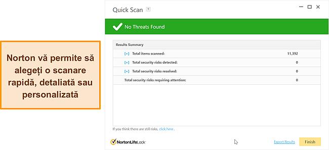 Captură de ecran a opțiunilor de scanare anti-malware ale Norton.