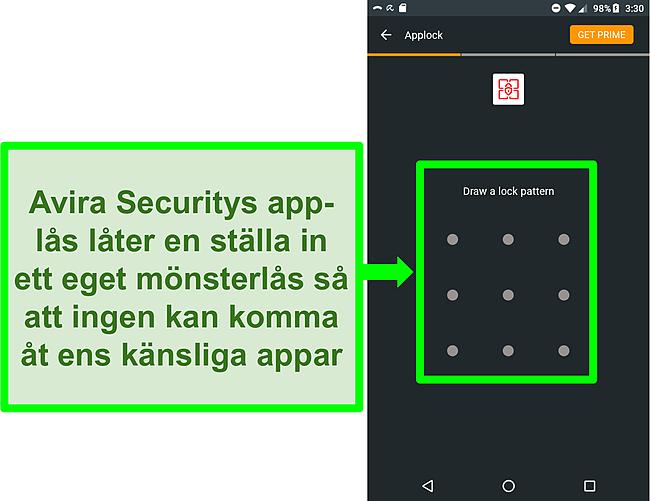 Skärmdump av Aviras applock -funktion på Android.