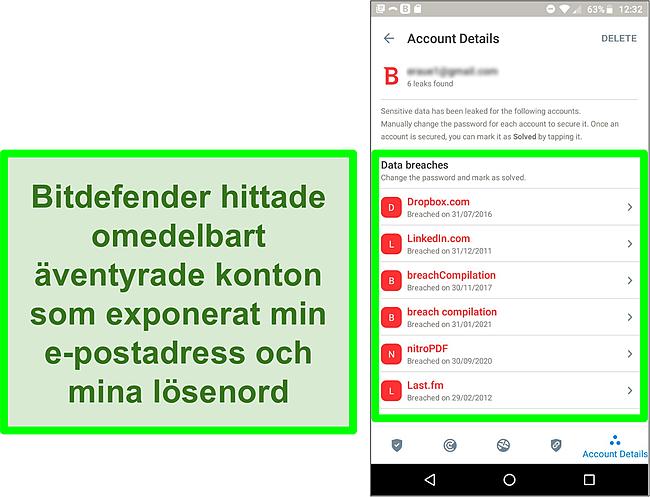 Skärmdump av Bitdefenders dataintrångsskanner som hittar flera exponerade konton.