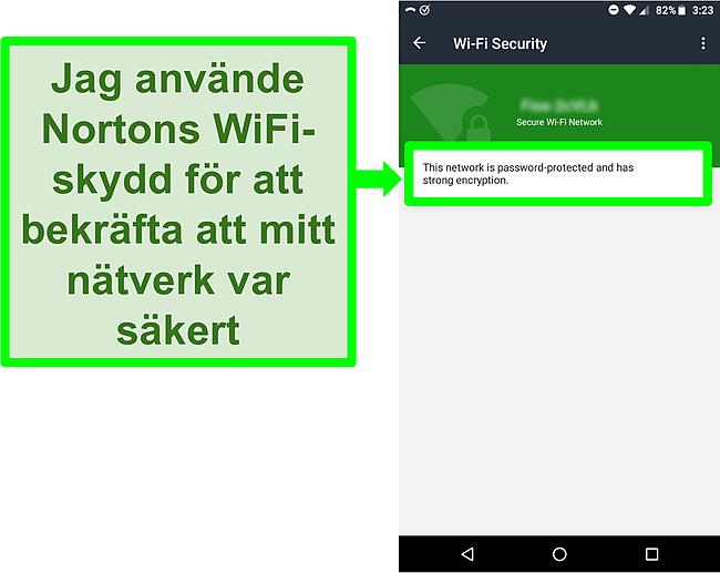 Skärmdump av en WiFi -skanning i Norton Mobile Security som visar ett säkert WiFi -nätverk.