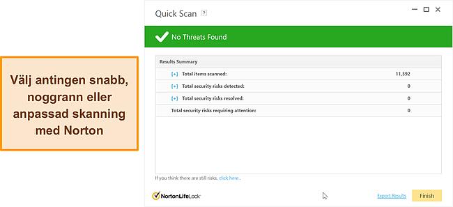Skärmdump av Nortons skanningsalternativ mot skadlig kod.