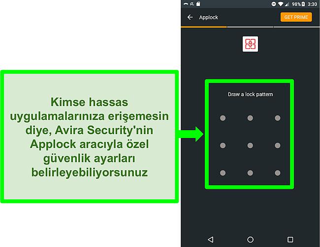 Avira'nın Android'deki uygulama kilidi özelliğinin ekran görüntüsü.
