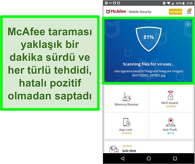McAfee Mobile Security kullanılarak devam eden bir virüs taramasının ekran görüntüsü.